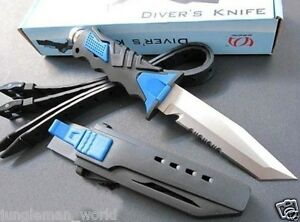 Scuba-Diving-Camping-Hunting-Fishing-Stainless-High-Quality-Dive-Knife-AU-Blue