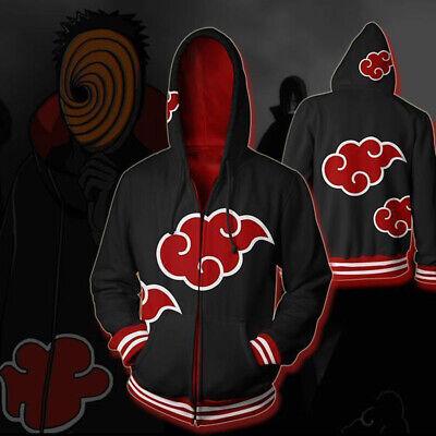 Naruto Cosplay Costume  Red Cloud Pattern Hoodie Sweatshirt  Jacket Coat Casual