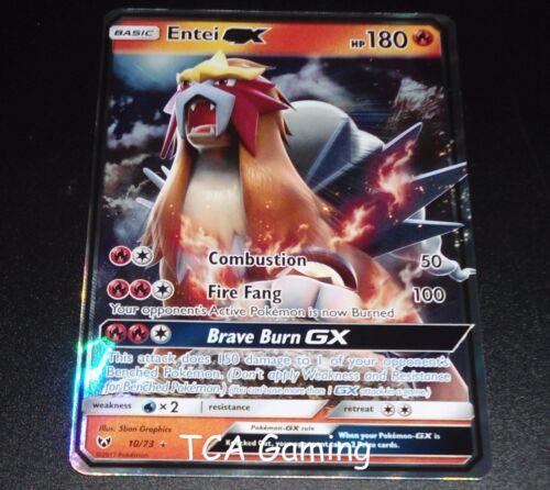 Entei GX 10/73 SM Shining Legends ULTRA RARE Pokemon Card NEAR MINT