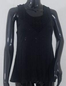 J-Crew-Blouse-Top-Size-Small-Black-Sleeveless-Eyelet-Front-Detail