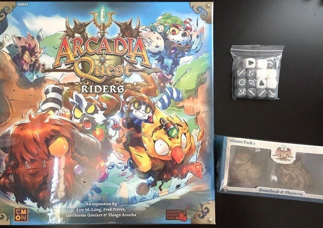 Arcadia Quest Riders Exp + Kickstarter Paquete de montaje exclusivo + dados nuevo ship  0 Intl