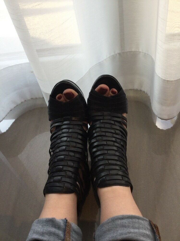 Sandaletten Gladiator 39 Zara Pumps Riemchen High Heels Peep Toe Sling Plateau
