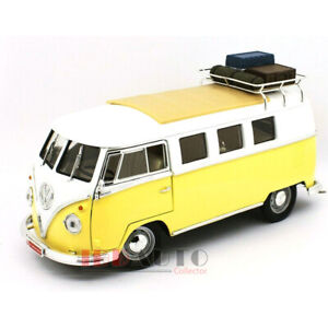 ROAD SIGNATURE 1962 VOLKSWAGEN MICROBUS W/ROOF RACK & LUGGAGE YELLOW 1/18 92328