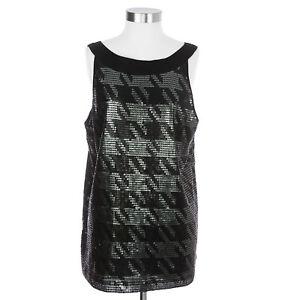 Tommy-Hilfiger-Women-039-s-XL-Sequin-Black-Tank-Top