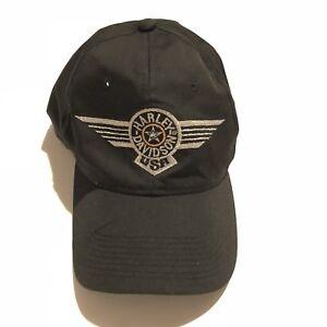 91c58ae0a5199 Vintage 90s 80s Harley Davidson USA Shield Hat Black Snapback Cap ...