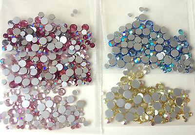 100 x MIXED COLOURS & SIZE Swarovski Crystals Foiled Flatback 2058 Non Hot Fix