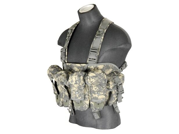 Lancer Tactical Airsoft Adjustable Chest Rig Vest Pouch ACU Digital CA-308A