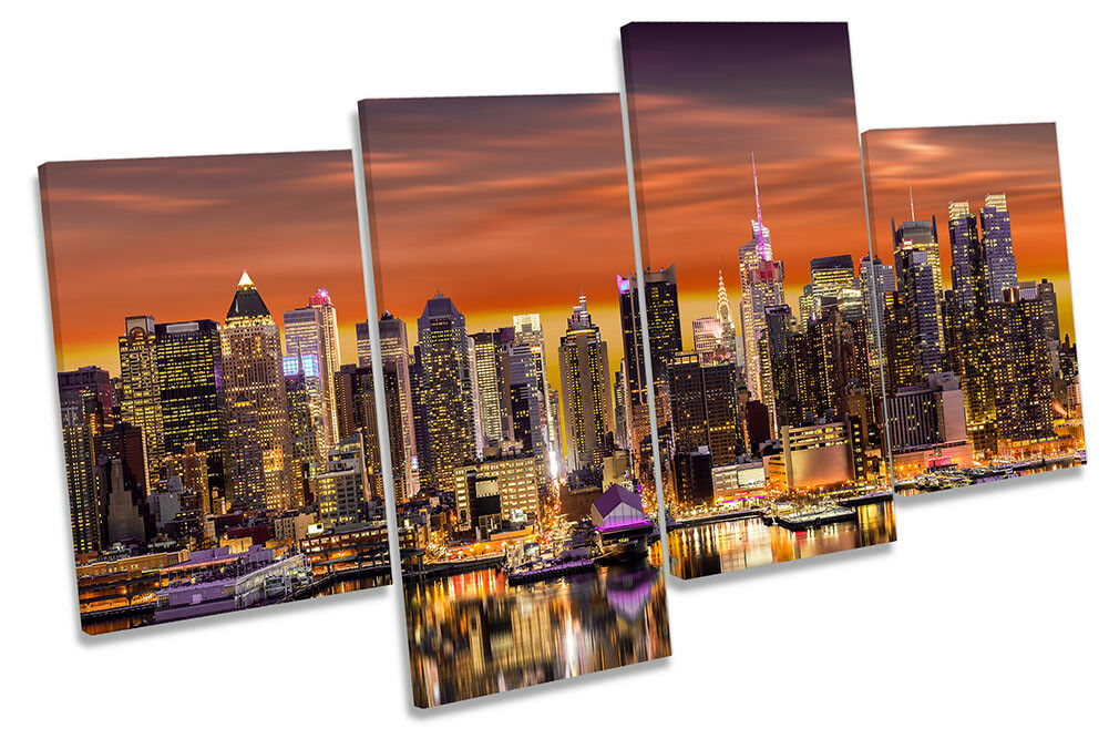 New York City Skyline Orange Framed MULTI CANVAS PRINT Wall Art