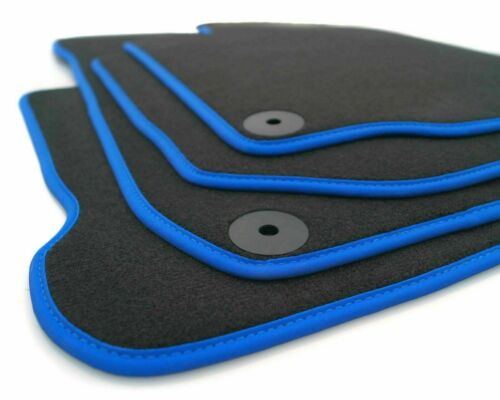 blauer Rand Hybrid Qualität Velour Autoteppich Fußmatten Toyota Auris 2013