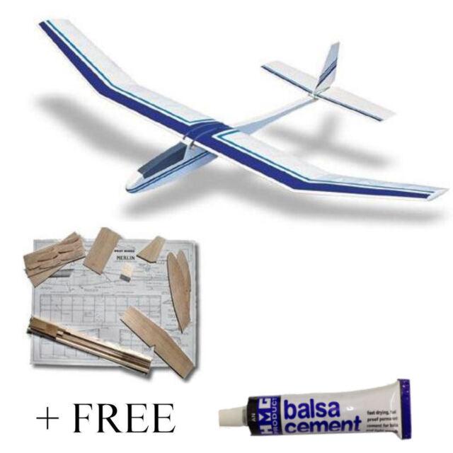 West Wings Merlin Balsa Glider 890mm Wingspan WW14 + FREE Balsa Cement