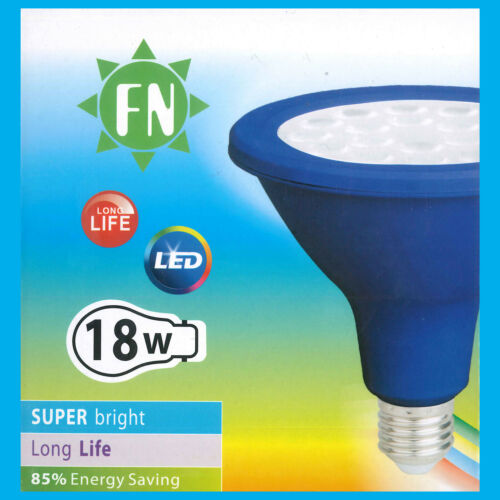 2x 18W PAR38 Blue Coloured LED Flood Reflector ES E27 Light Bulb Lamp