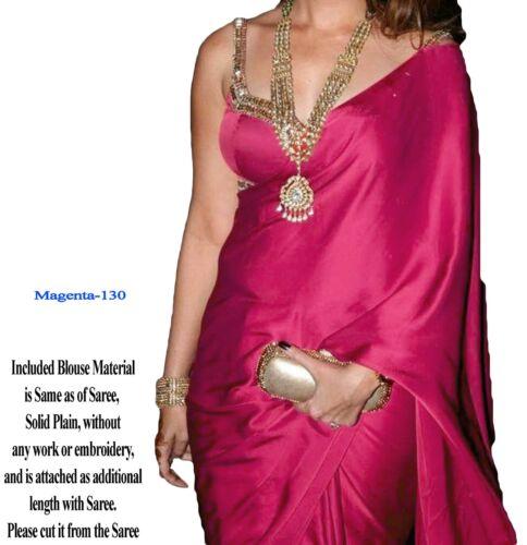 Magnifique Élégant Satin Georgette Silk Sari Saree With Blouse tissu Magenta
