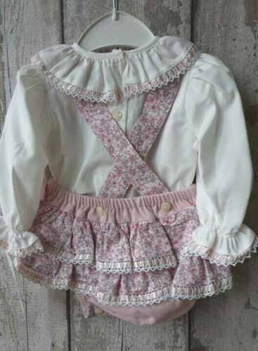 Spanish Style Baby Girl Pink Floral Dungaree Romper and Ruffle Collar Top Set