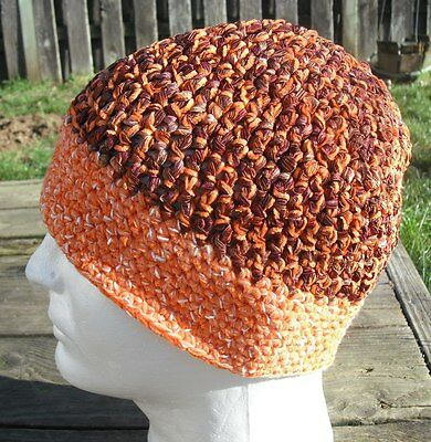 Bright Orange/Brown Crocheted Smaller Size Beanie - Handmade by Michaela