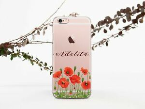 Poppies-iPhone-5-6s-7-8-Plus-Clear-Case-Monogram-iPhone-XS-Max-XR-Silicone-Cover
