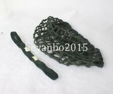 SET WWII US ARMY M1 HELMET COVER COTTON CAMOUFLAGE NET GREEN + CAT EYES STRAP