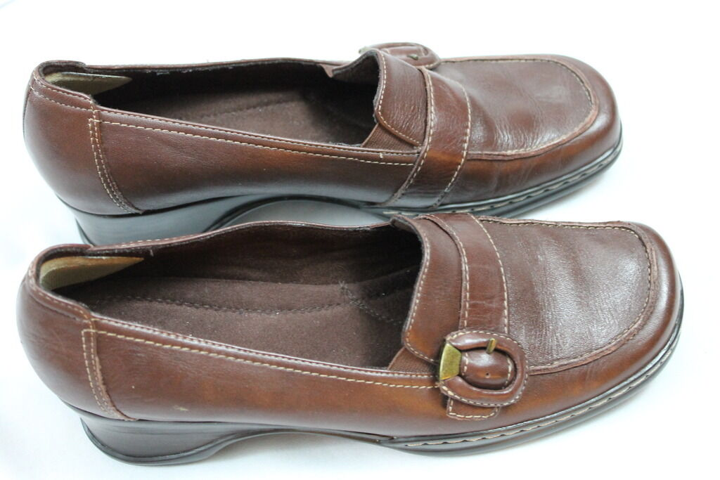 Women's Naturalizer Brown Leather Slip on Shoes Casual Loafer Pumps Heels Shoes on 9M 468205