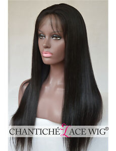 Silk-Top-Human-Hair-Lace-Front-Wig-African-American-Brazilian-Remy-Yaki-Straight