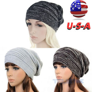 3afa555e9d3 Unisex Women Mens Knitted Winter Warm Oversized Ski Slouch Hat Cap ...