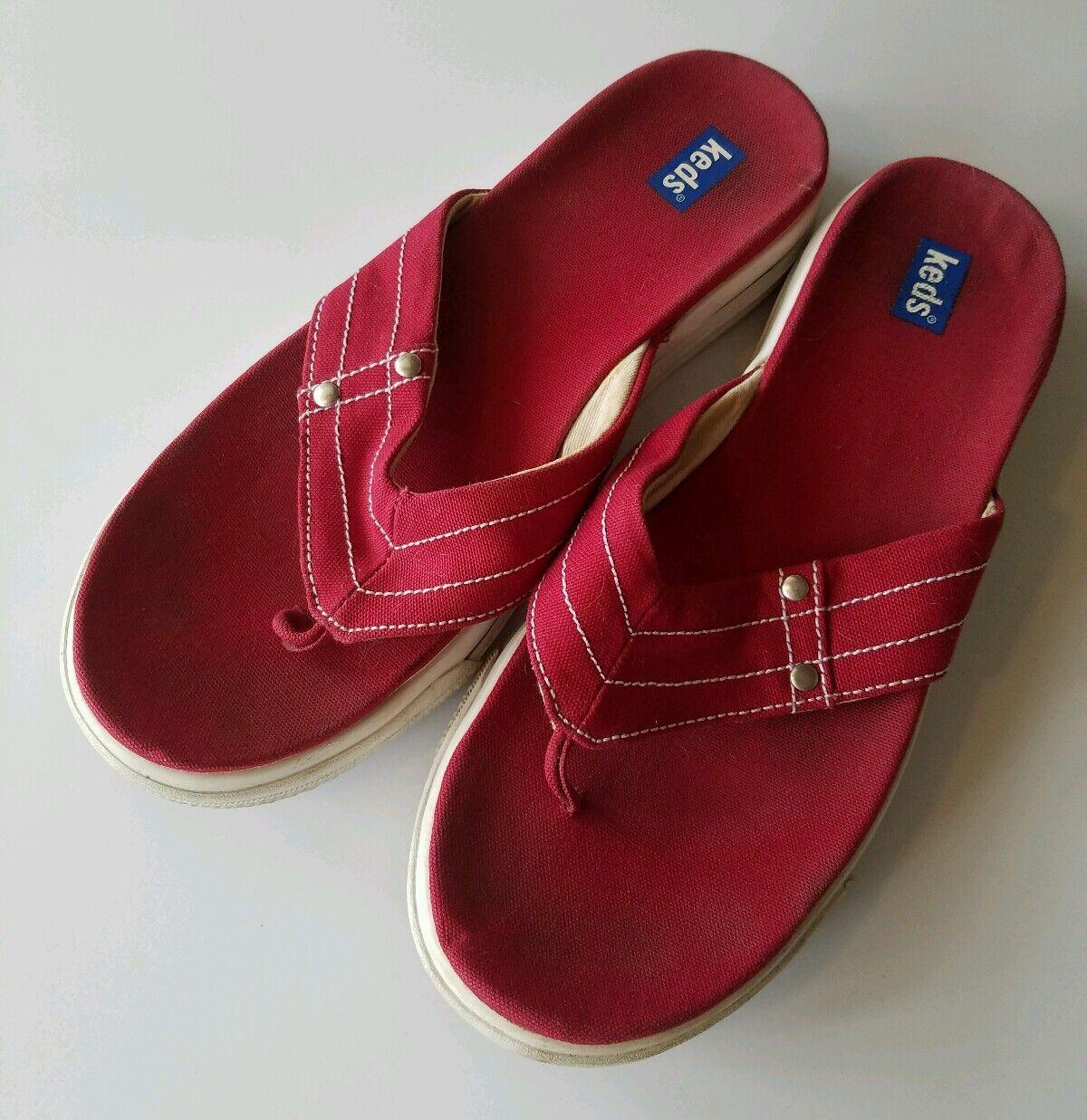 VINTAGE KEDS WOMANS SANDAL FLIP FLOPS womens SIZE 9 sneaker stlye red