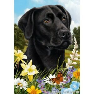 Black Labrador Retriever 190011 Roses Garden Flag