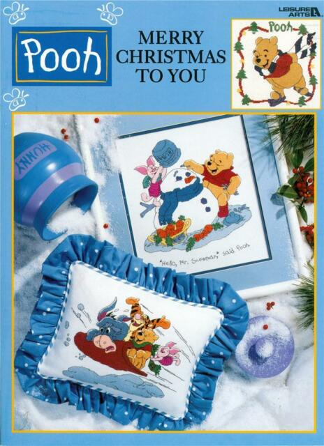 Leasure Arts POOH MERRY CHRISTMAS TO YOU CROSS STITCH Patterns Crafts Book ~ New