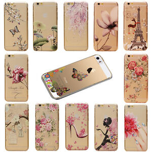 Hot-Flowers-Scenery-Patterns-Transparent-Hard-Case-Cover-For-iPhone-5S-5C-6-6S