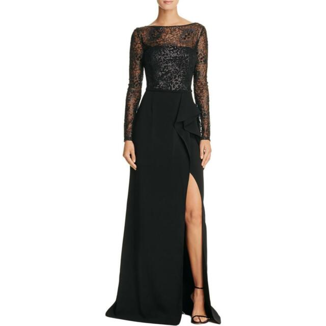 a257b881828 CARMEN MARC VALVO ~ Black Sequin Illusion Ruffle Leg Slit Formal Gown 6 NEW   348