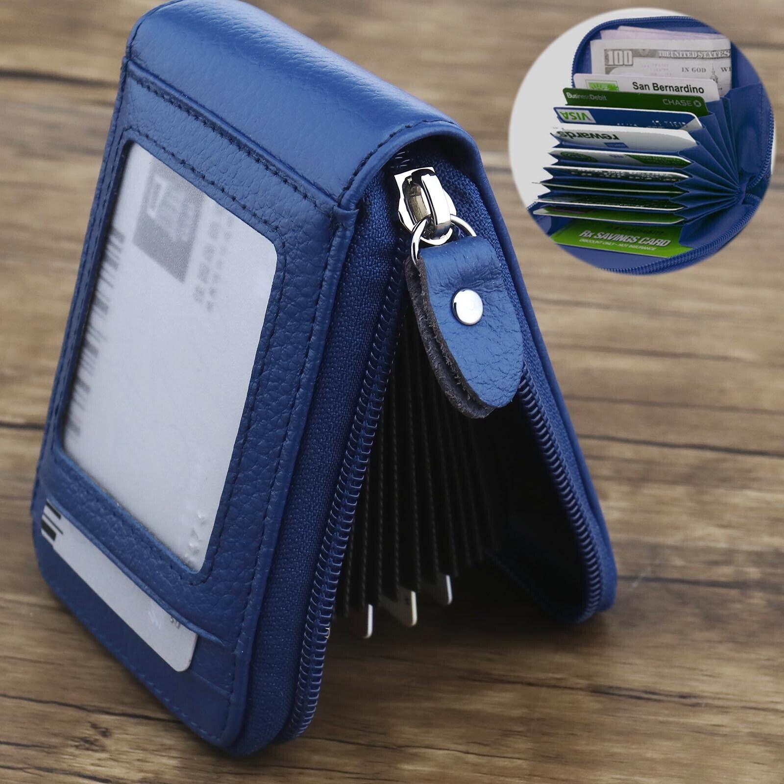 Blau Brieftasche Leder Kreditkarteninhaber RFID Reißverschluss Geldbörsen