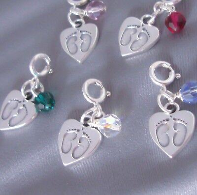 Sterling Silver Baby Foot Feet Heart Charm Birthstone