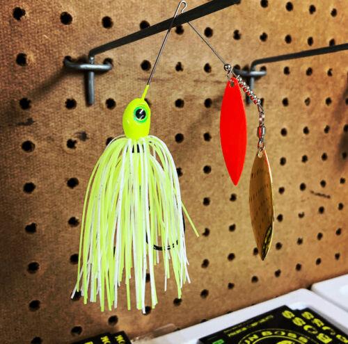 gold willow orange willow Kajun Boss 1//4 oz White//Chart Spinner bait