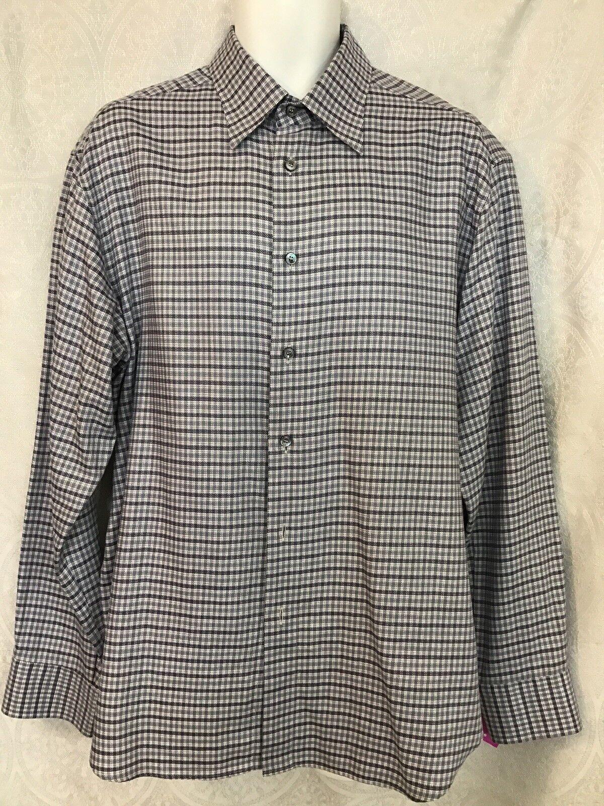 Brioni  Dress Shirt Blau Weiß Lavender Cotton Größe Xl