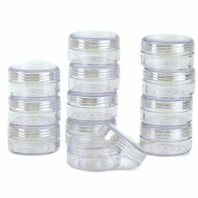 12 Storage Round Clear Container with Screw Lids Small Items Organizer 1.5 in