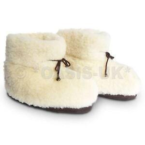 Cozy-Foot-100-Pure-Laine-De-Mouton-Unisexe-Chaussons-Hommes-amp-Femmes-Creme