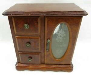 Lovely Rustic Dresser Top Jewelry Box With 3 Drawers N Door Glass