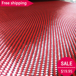 3K 200gsm Red Fabric Made with Kevlar Carbon Fiber Twill Aramid Carbon 10cm 1m