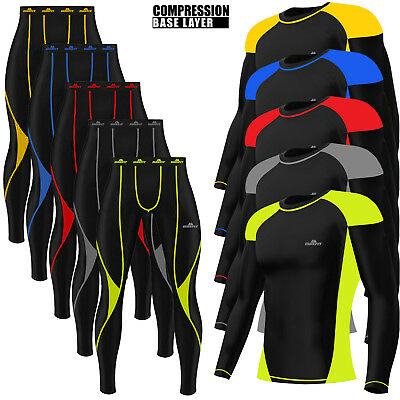 Mens Compression Tights + Top T-shirt Armour Base Layer Gym Trousers Under Suit