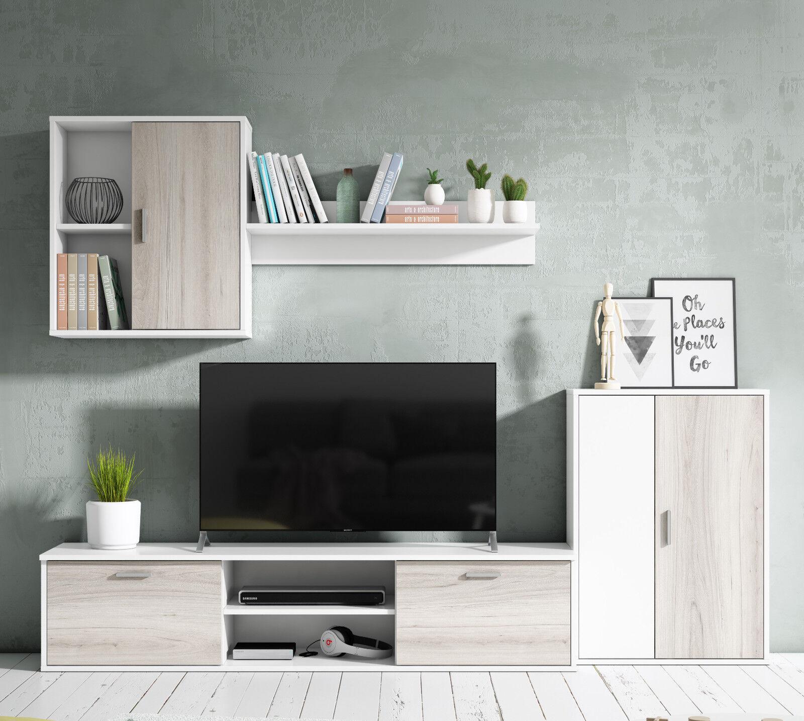 Mueble salon comedor bajo modulo colgante y armario color blanco y shamal