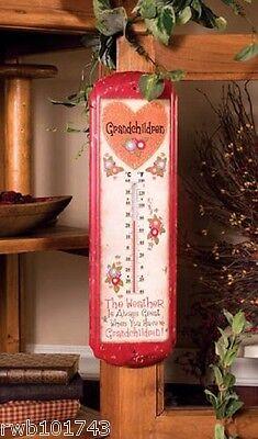 Grandchildren Thermometer prim rustic quilting sewing room decor grandma gift