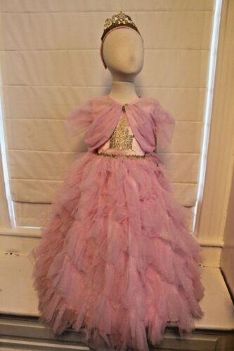 Pink Princess Dress Aurora Hoop Skirt Tiara Boutique Costume Cinderella NEW