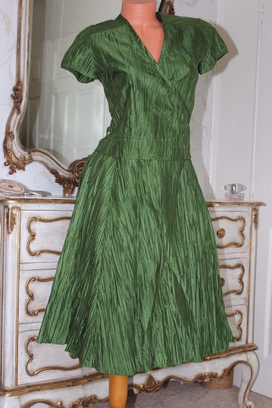 LINEA  100%  Silk Crinkle Effect Cross over A line dress size 12