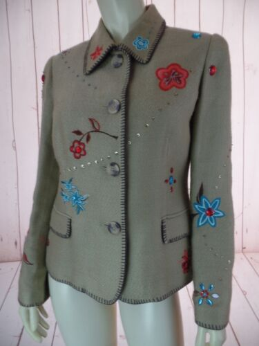S Christina Ricamato Textured Floral Boho Blazer Marisa Jewellery Acrylic Tan fqACwZ