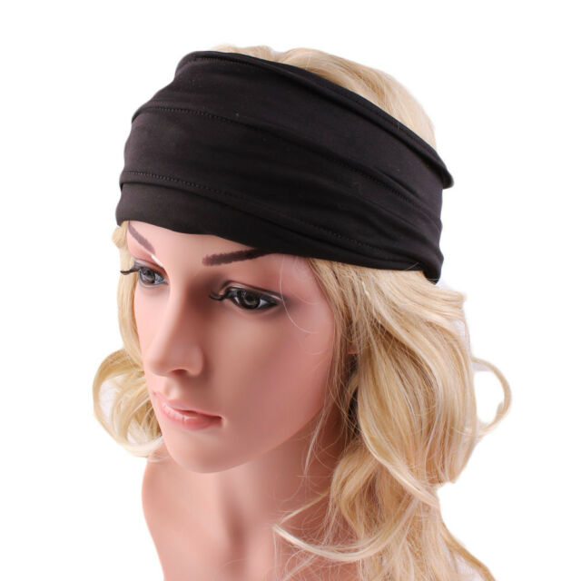 Women Men Yoga Sports Wide Headband Elastic Boho Hair Band Head