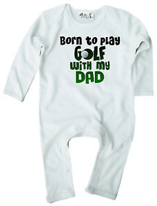 Dirty-Finger-Strampelanzug-Geschenk-034-Born-to-Play-Golf-with-my-Dad-034-Vatertag