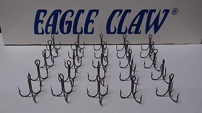 EAGLE CLAW 2X-STRONG SHORT SHANK TREBLE HOOKS-PLATINUM BLACK-(25 PACK)-SIZE 5