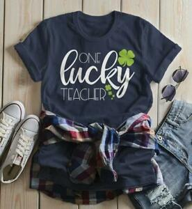 46252065118d Women's One Lucky Teacher T Shirt St Patrick's Day Tee Lucky Clover ...