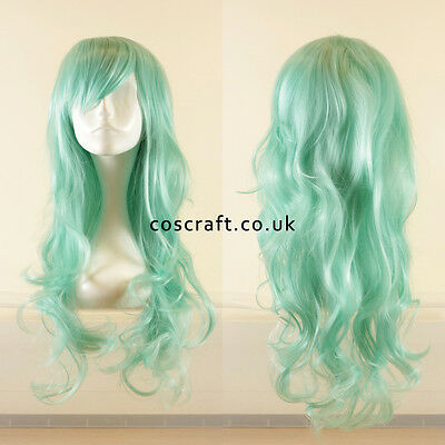Long wavy curly cosplay wig with fringe in pale teal, Charlie style