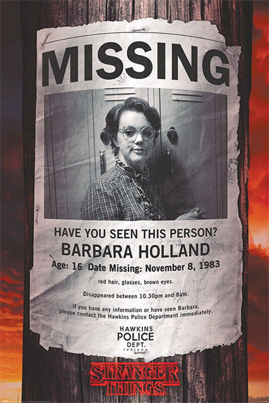 Stranger Things Missing Barb Poster Framed Cork Pin Board With Pins