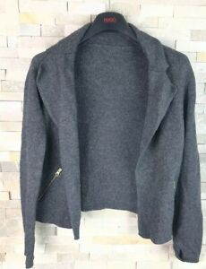 Jaeger-Ladies-Size-S-Grey-Viscose-Wool-Cashmere-Waterfall-Cardigan