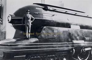 1937 Raymond Loewy Photo standing on Train Modernist Iconic S1 Design